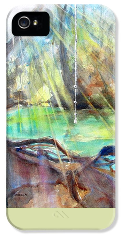 Landscape IPhone 5 Case featuring the painting Rope Swing by Carlin Blahnik