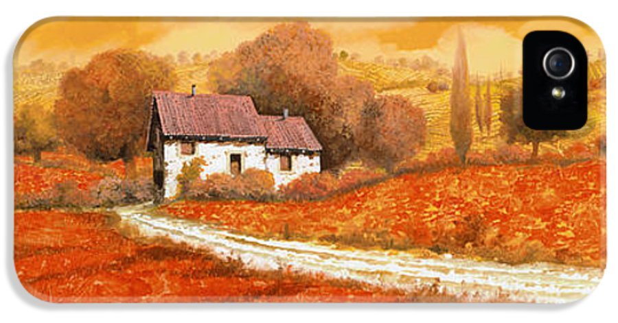 Tuscany IPhone 5 Case featuring the painting Rosso Papavero by Guido Borelli