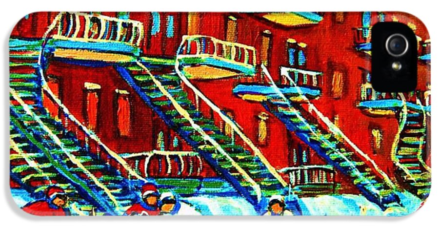 Hockey IPhone 5 Case featuring the painting Rowhouses And Hockey by Carole Spandau