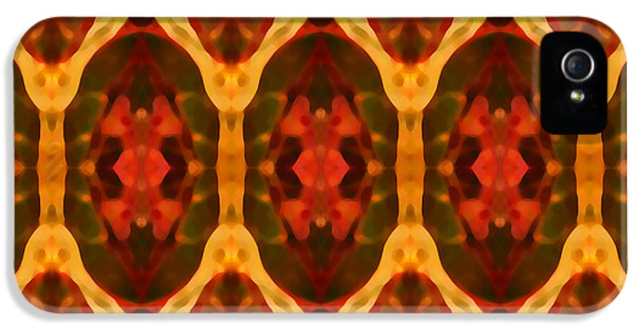 Abstract IPhone 5 Case featuring the painting Ruby Glow Pattern by Amy Vangsgard