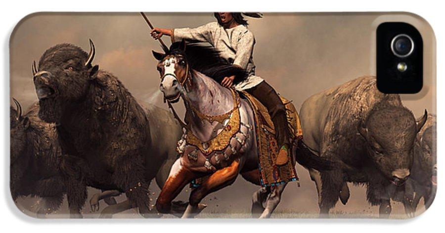 Western IPhone 5 Case featuring the digital art Running With Buffalo by Daniel Eskridge