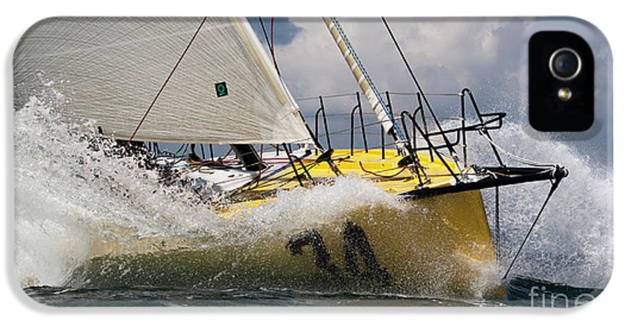 Sailboat IPhone 5 Case featuring the photograph Sailboat Le Pingouin Open 60 Charging by Dustin K Ryan