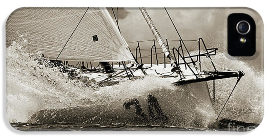 Sailboat IPhone 5 / 5s Case featuring the photograph Sailboat Le Pingouin Open 60 Sepia by Dustin K Ryan