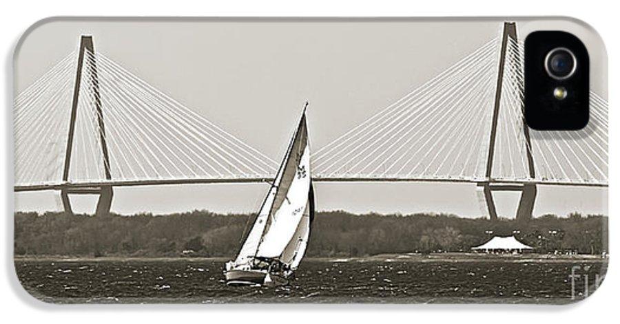 Sailboat IPhone 5 Case featuring the photograph Sailboat Sailing Cooper River Bridge Charleston Sc by Dustin K Ryan