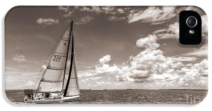 Sailboat Sailing On The Charleston Harbor Beneteau 40.7 IPhone 5 Case featuring the photograph Sailboat Sailing On The Charleston Harbor Sepia Beneteau 40.7 by Dustin K Ryan