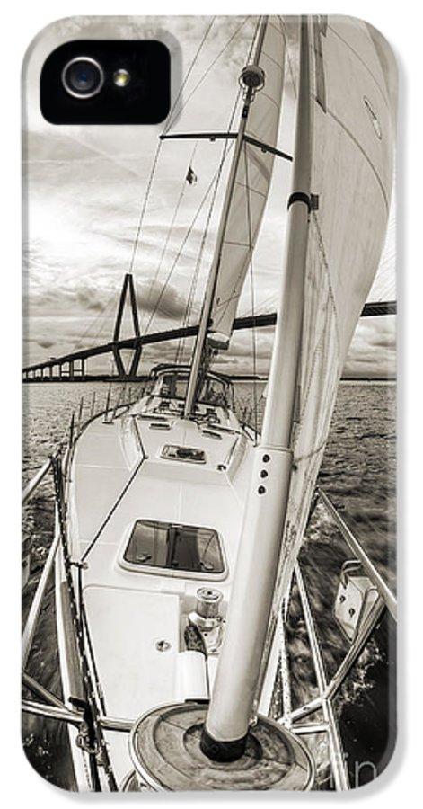 Sailboat Sailing Past Arthur Ravenel Jr Bridge Charleston Sc IPhone 5 Case featuring the photograph Sailboat Sailing Past Arthur Ravenel Jr Bridge Charleston Sc by Dustin K Ryan