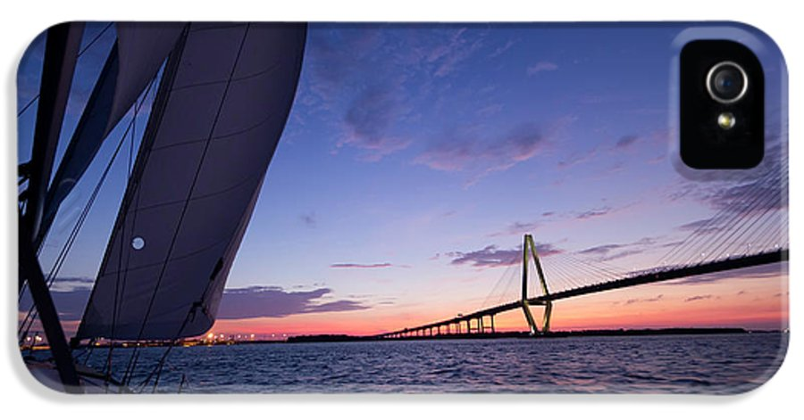 Sailboat IPhone 5 Case featuring the photograph Sailboat Sailing Sunset On The Charleston Harbor by Dustin K Ryan