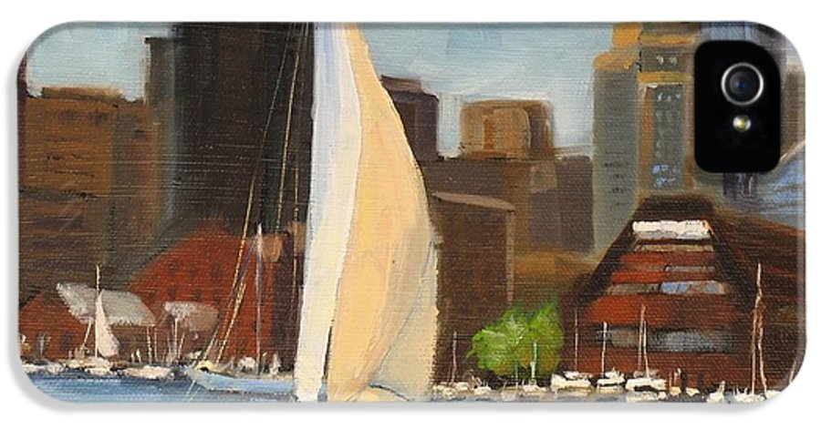Oil Painting IPhone 5 Case featuring the painting Sailing Boston Harbor by Laura Lee Zanghetti
