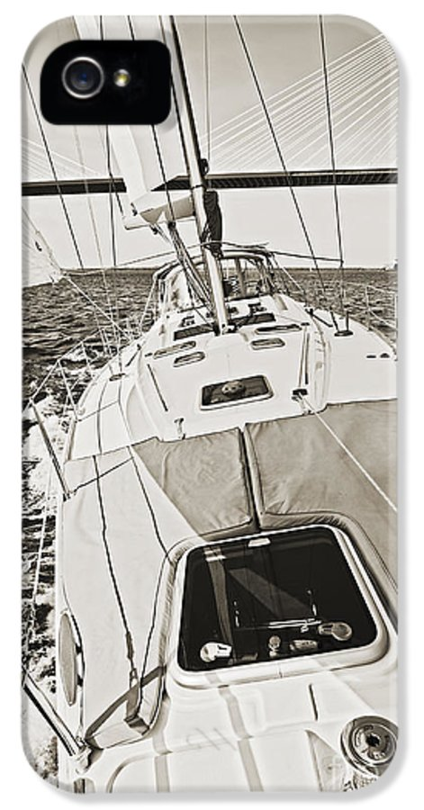 Sailing IPhone 5 Case featuring the photograph Sailing Sailboat Charleston Sc Bridge by Dustin K Ryan