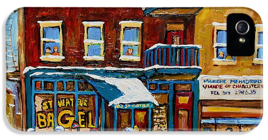 Montreal IPhone 5 Case featuring the painting Saint Viateur Bagel With Hockey by Carole Spandau