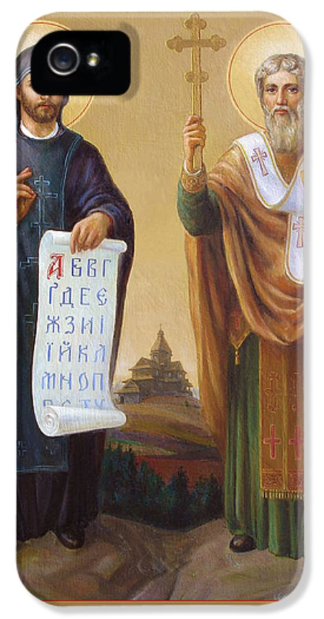 Saints IPhone 5 Case featuring the painting Saints Cyril And Methodius - Missionaries To The Slavs by Svitozar Nenyuk