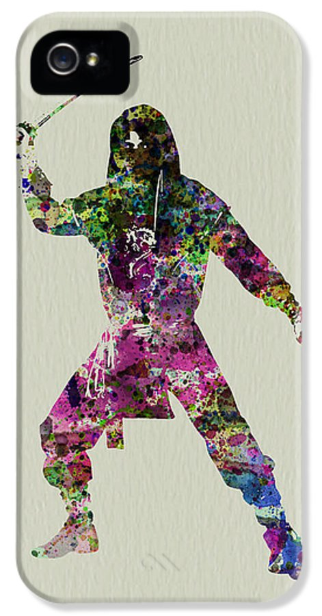 Ninja IPhone 5 Case featuring the painting Samurai With A Sword by Naxart Studio