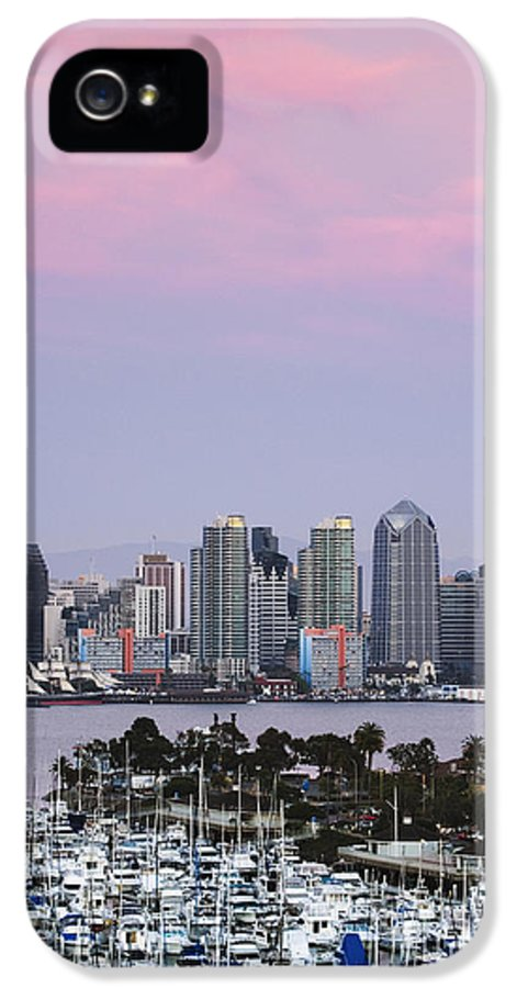 Architecture IPhone 5 Case featuring the photograph San Diego Skyline And Marina At Dusk by Jeremy Woodhouse