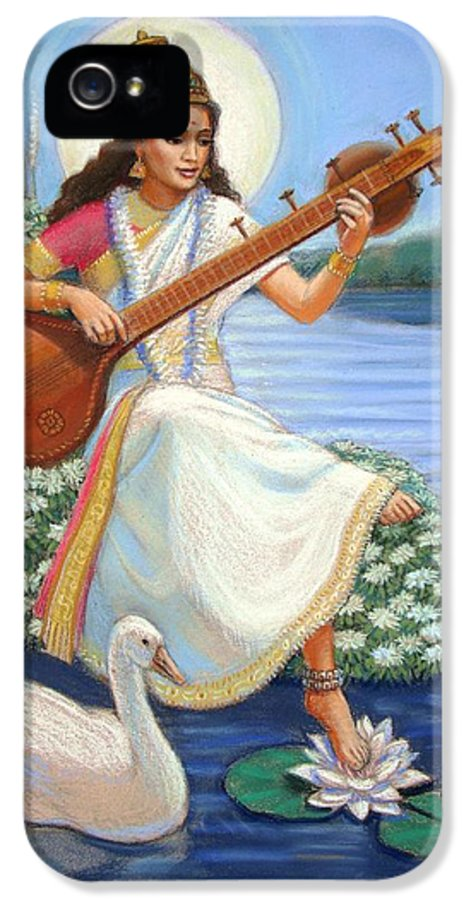 Hindu Goddess IPhone 5 Case featuring the painting Sarasvati by Sue Halstenberg