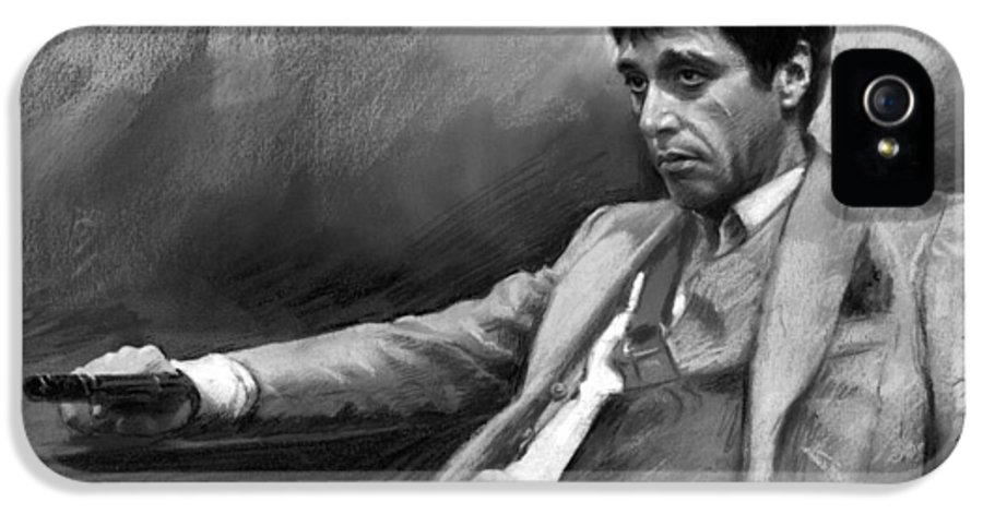 Al Pacino IPhone 5 Case featuring the pastel Scarface 2 by Ylli Haruni