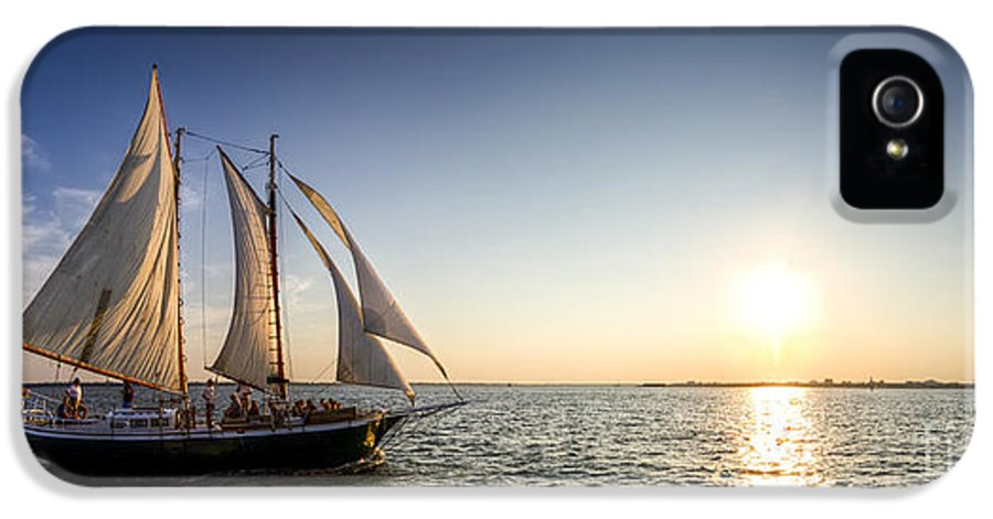 Schooner Welcome Sunset Sail IPhone 5 Case featuring the photograph Schooner Welcome Sunset Charleston Sc by Dustin K Ryan