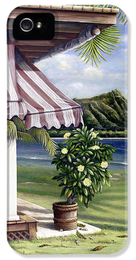 Acrylic IPhone 5 Case featuring the painting Seaside Hotel by Sandra Blazel - Printscapes