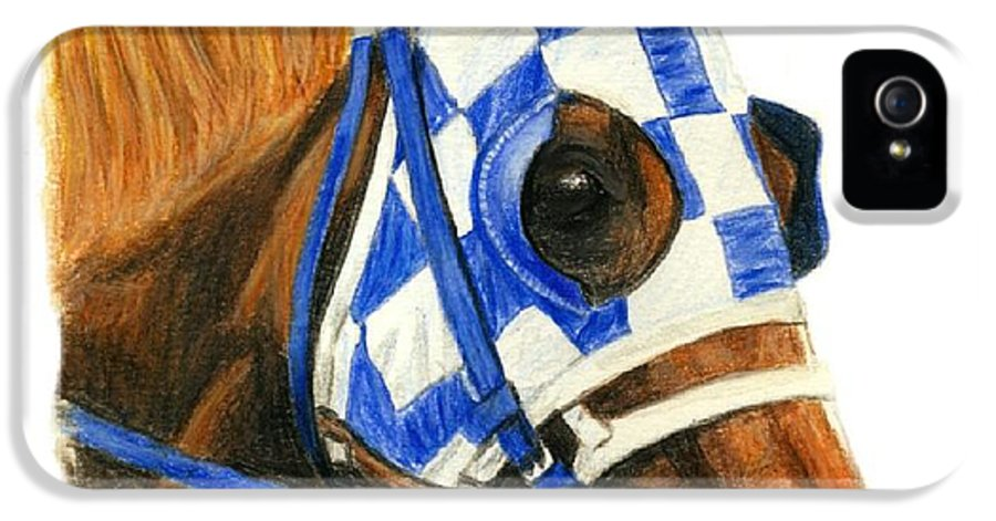 Secretariat IPhone 5 Case featuring the painting Secretariat With Blinkers by Pat DeLong