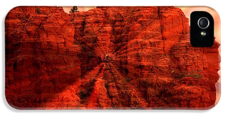 Sedona IPhone 5 Case featuring the photograph Sedona Sunset Energy - Abstract Art by Carol Groenen