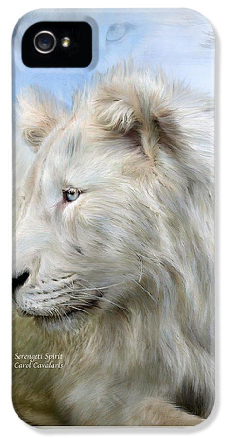 White Lion IPhone 5 Case featuring the mixed media Serengeti Spirit by Carol Cavalaris