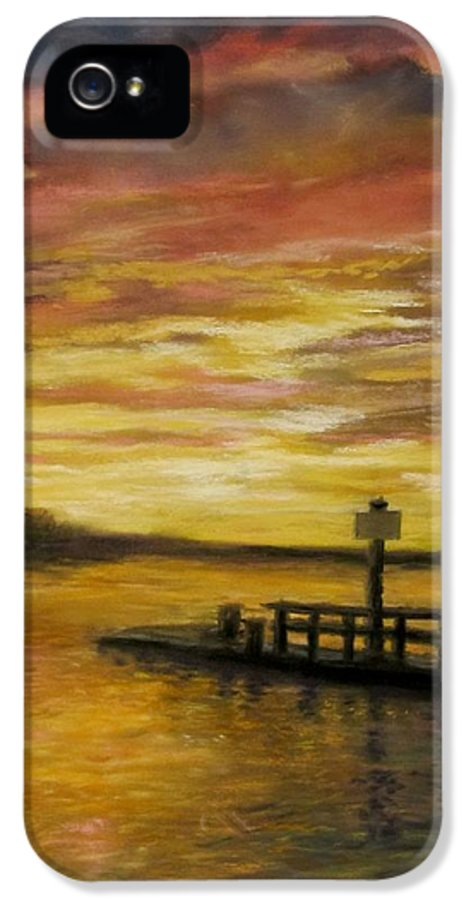 Sunset IPhone 5 Case featuring the painting Sesuit Harbor At Sunset by Jack Skinner