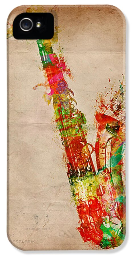 Saxophone IPhone 5 Case featuring the digital art Sexy Saxaphone by Nikki Smith