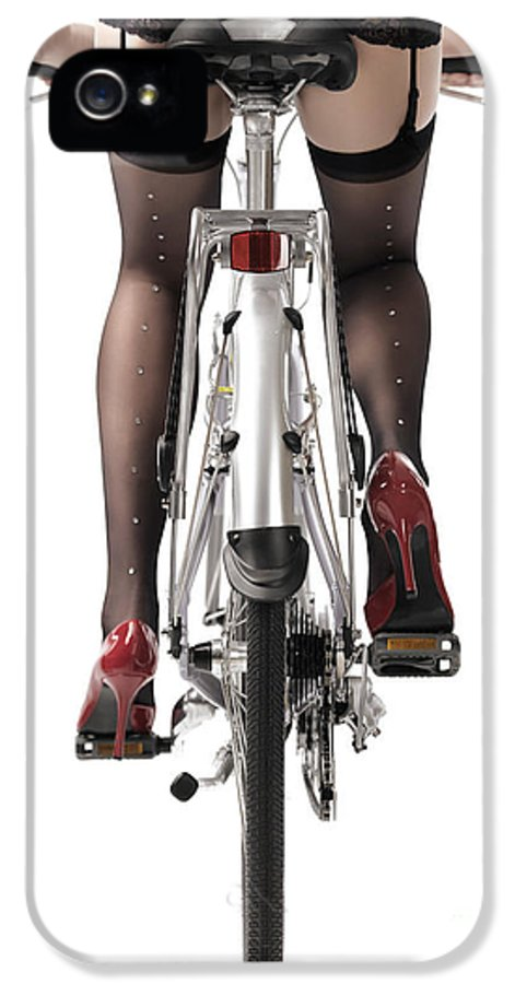 Legs IPhone 5 / 5s Case featuring the photograph Sexy Woman Riding A Bike by Oleksiy Maksymenko