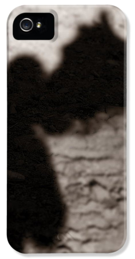 Shadow IPhone 5 / 5s Case featuring the photograph Shadow Of Horse And Girl - Vertical by Angela Rath