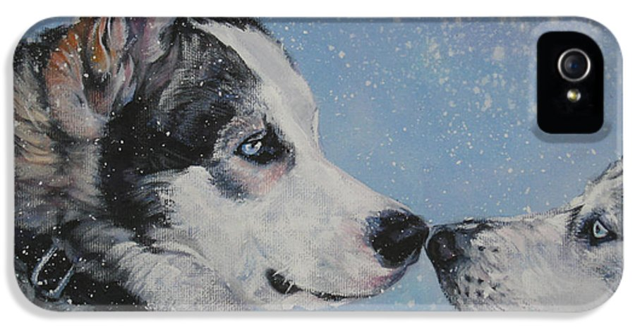 Siberian Husky IPhone 5 Case featuring the painting Siberian Huskies In Snow by Lee Ann Shepard