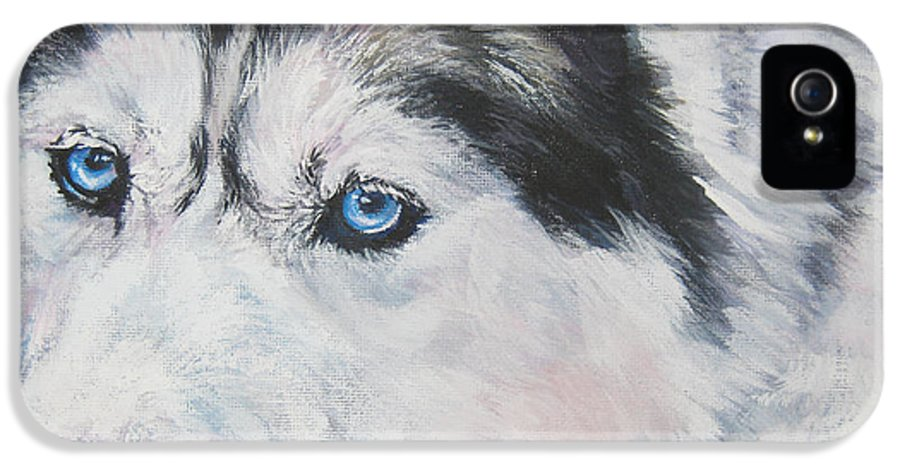 Dog IPhone 5 Case featuring the painting Siberian Husky Up Close by Lee Ann Shepard