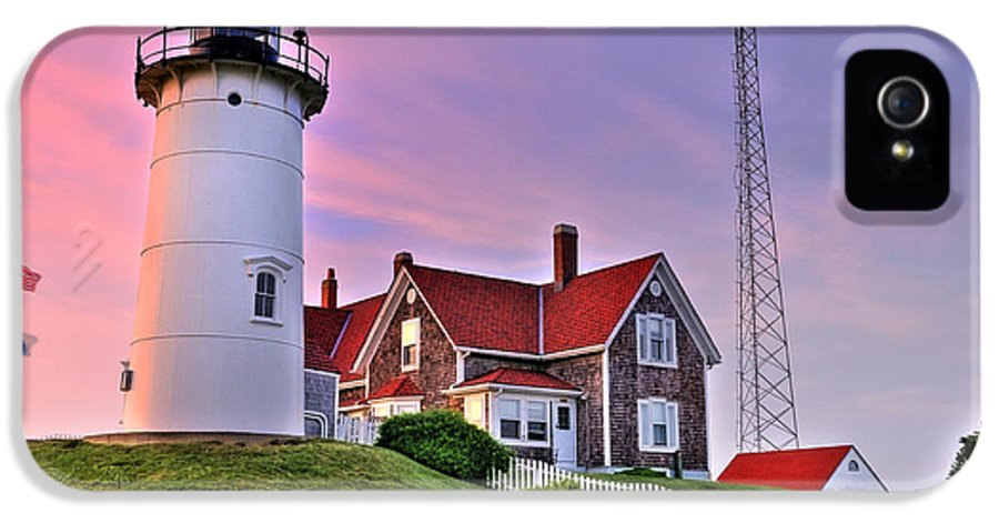 New England IPhone 5 Case featuring the photograph Sky Of Passion - Nobska Lighthouse by Thomas Schoeller