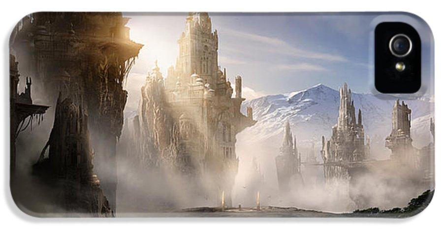 Game Art IPhone 5 Case featuring the digital art Skyrim Fantasy Ruins by Alex Ruiz