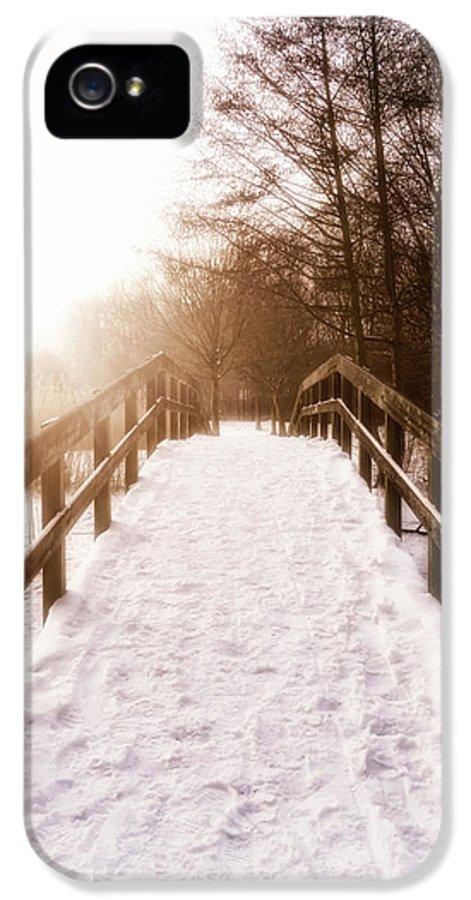 Bridge IPhone 5 Case featuring the photograph Snowy Bridge by Wim Lanclus