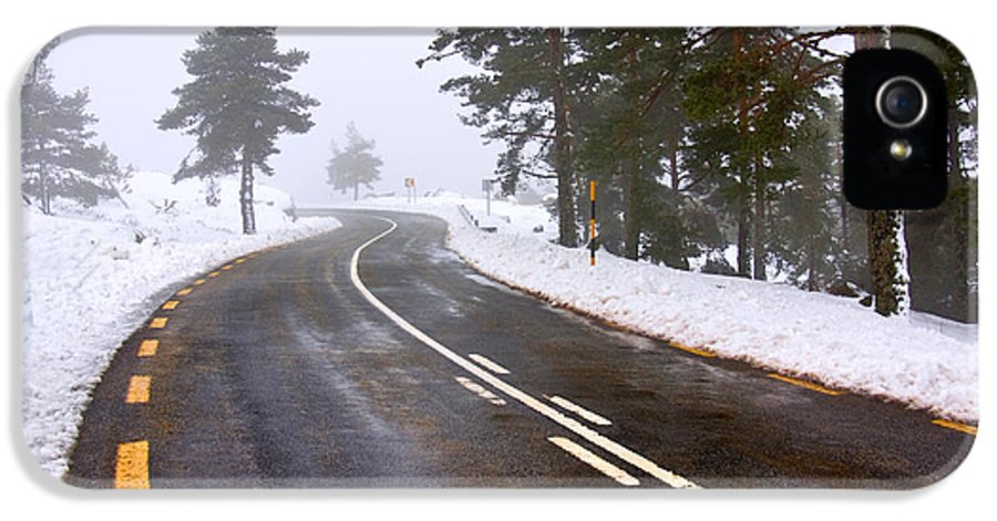 Asphalt IPhone 5 Case featuring the photograph Snowy Road by Carlos Caetano