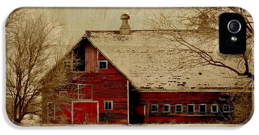 Red IPhone 5 Case featuring the digital art South Dakota Barn by Julie Hamilton