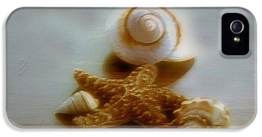 Beach Art IPhone 5 Case featuring the photograph Star And Shells by Linda Sannuti