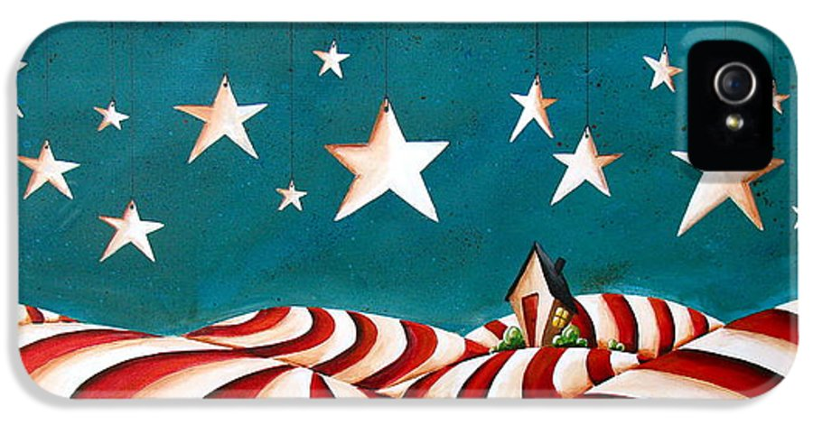 House IPhone 5 Case featuring the painting Star Spangled by Cindy Thornton