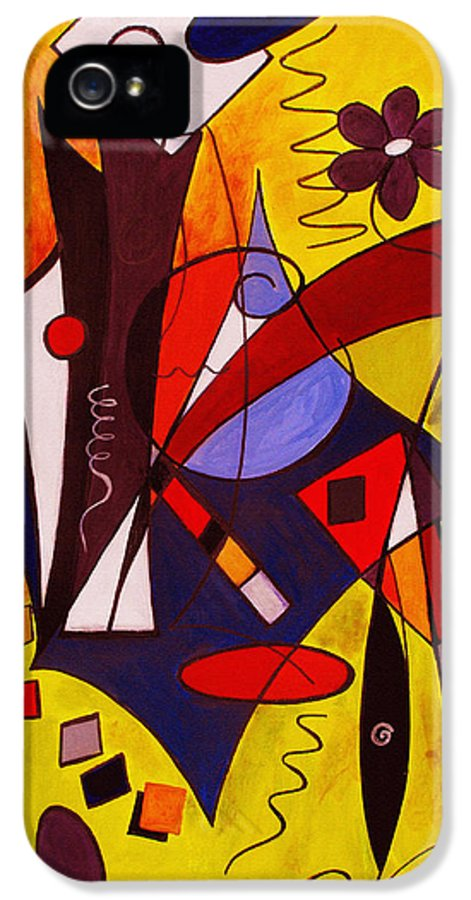 Abstract IPhone 5 Case featuring the painting Step Lively Now by Ruth Palmer
