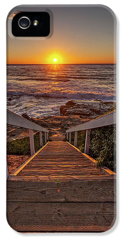 Beach. Beach Art IPhone 5 Case featuring the photograph Steps To The Sun by Peter Tellone