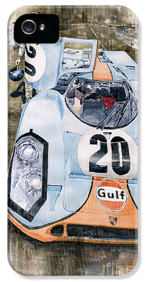 Watercolor IPhone 5 / 5s Case featuring the painting Steve Mcqueens Porsche 917k Le Mans by Yuriy Shevchuk