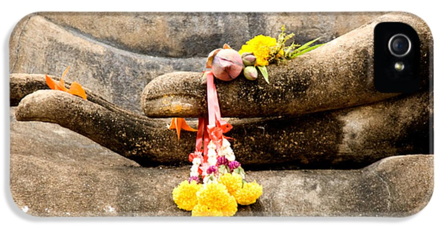 Buddha IPhone 5 Case featuring the photograph Stone Hand Of Buddha by Adrian Evans