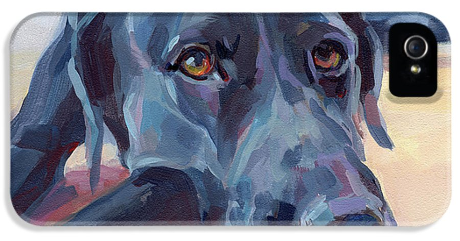 Black Lab IPhone 5 Case featuring the painting Stretched by Kimberly Santini