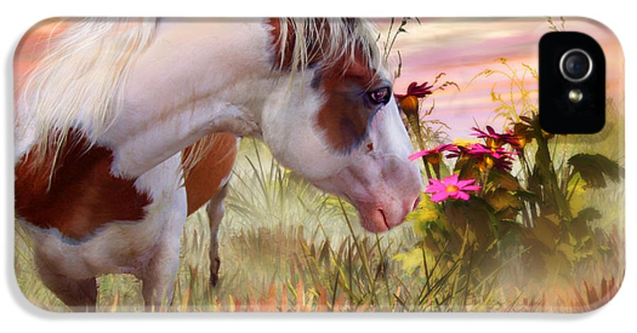 Horse IPhone 5 Case featuring the mixed media Summer Blooms by Carol Cavalaris