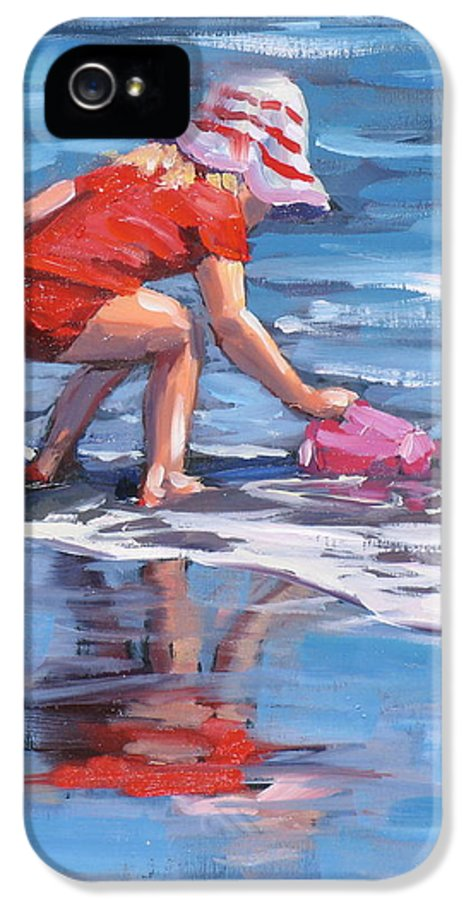 Beach Scene IPhone 5 Case featuring the painting Summer Fun by Laura Lee Zanghetti