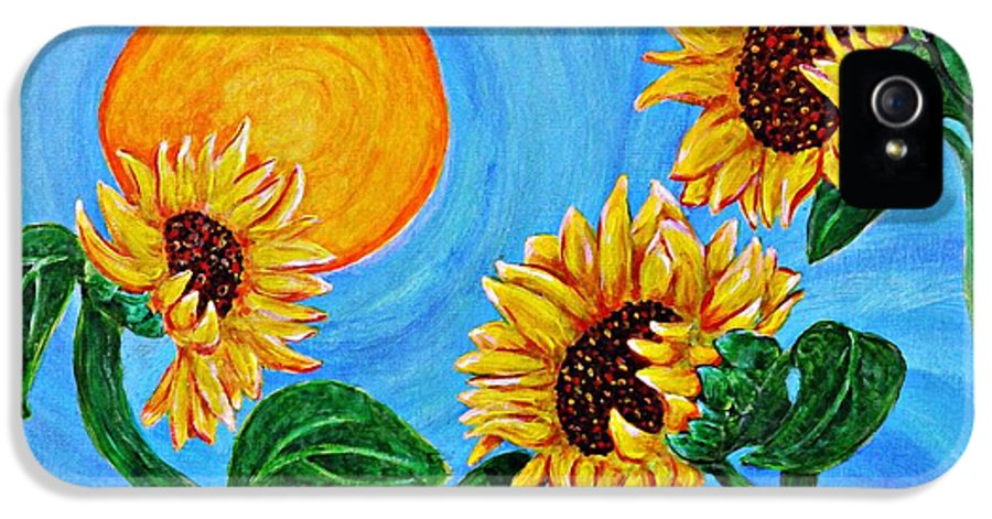 Sunflower IPhone 5 Case featuring the painting Sun Dance by Sarah Loft
