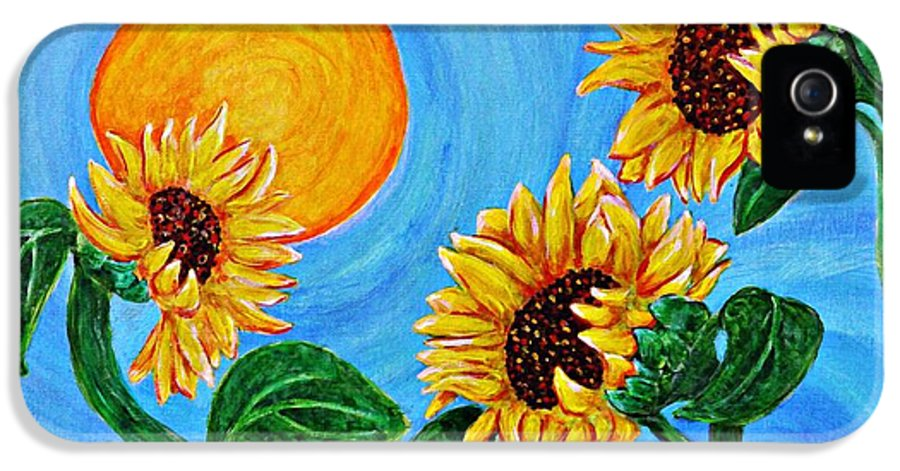 Sunflower IPhone 5 / 5s Case featuring the painting Sun Dance by Sarah Loft