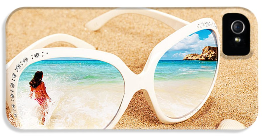 Sunglasses IPhone 5 Case featuring the photograph Sunglasses In The Sand by Amanda Elwell