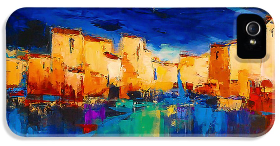 Cinque Terre IPhone 5 Case featuring the painting Sunset Over The Village by Elise Palmigiani