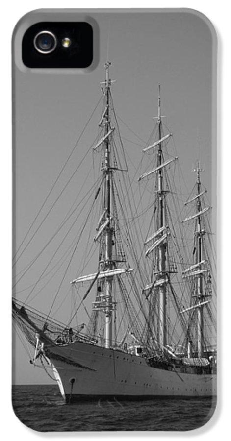 Tall Ship Sailboat Sailing Denmark Anchor Charleston South Carolina Dustin Ryan Schooner Bark IPhone 5 Case featuring the photograph Tall Ship Denmark by Dustin K Ryan
