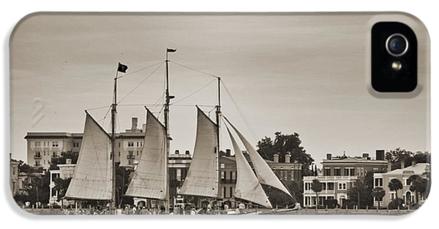 Tall Ship IPhone 5 Case featuring the photograph Tall Ship Schooner Pride Off The Historic Charleston Battery by Dustin K Ryan